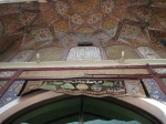 The beautiful frescoes in the arch of the main entrance to the prayer hall